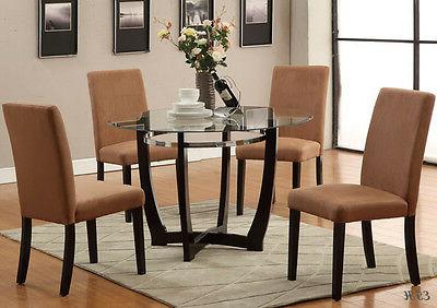 5PC MODERN WINSTED ROUND GLASS DINING TABLE SET w/ SADDLE HA