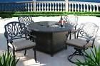 "5PC OUTDOOR Patio DINING SET 52"" ROUND FIRE PIT Table ANTIQU"