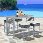 5Pc Outdoor Rattan Wicker Dining Set Patio Furniture Table C