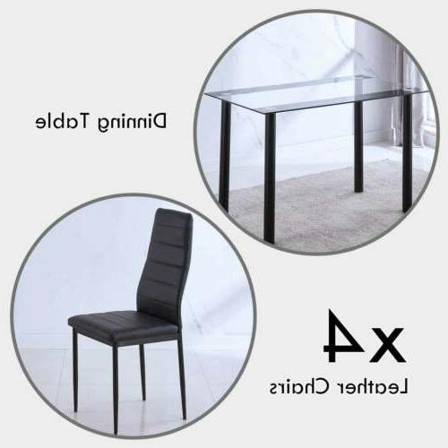 5PC Dining Glass Table + Chair Metal Frame Furniture