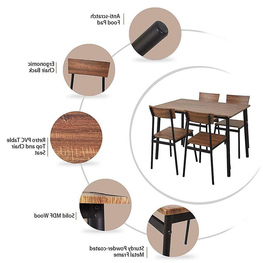 5PC Wooden Set Chairs Room Seat Home Furniture