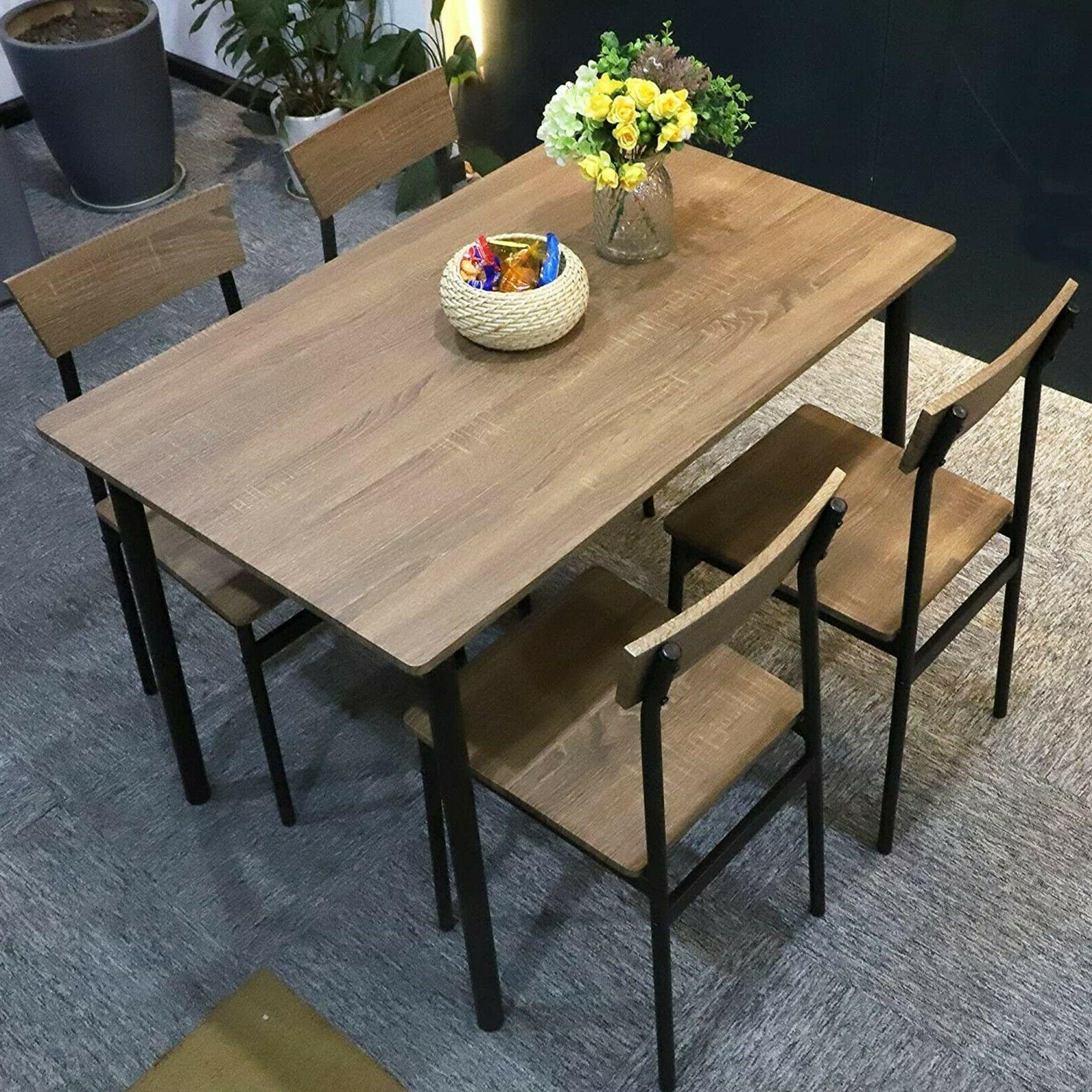 5pc wooden dining table set 4 chairs