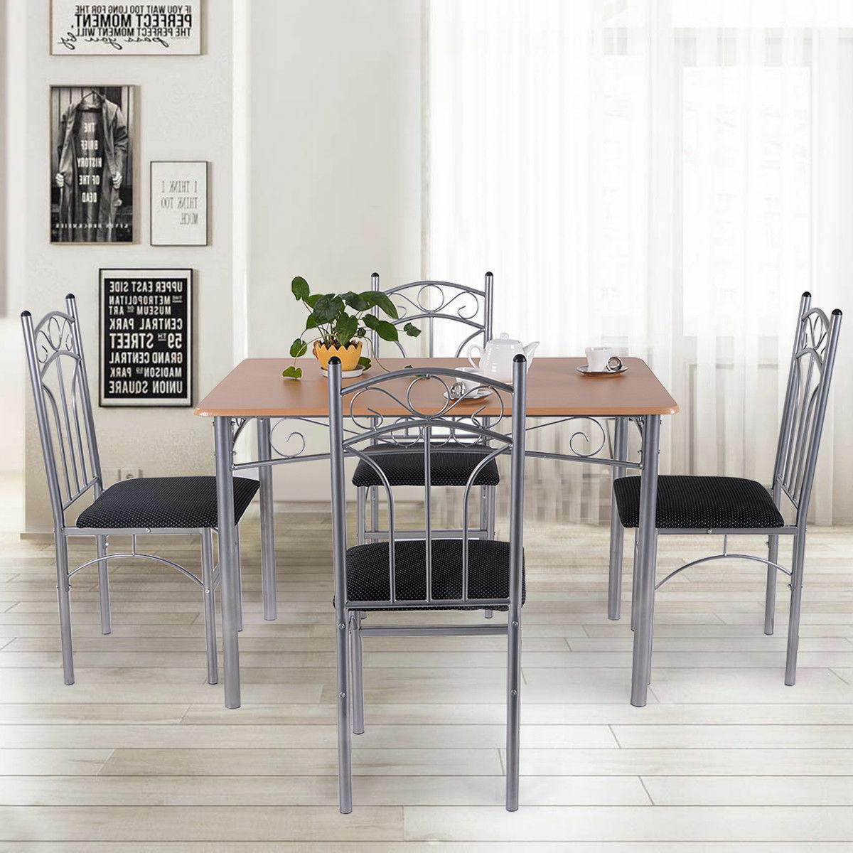 5PCS Dining Set Table and Chairs Home Kitchen