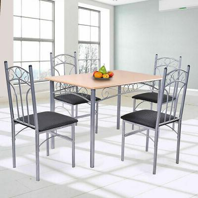 5PCS Wood And Metal Dining Set Table and 4 Chairs Home Kitch