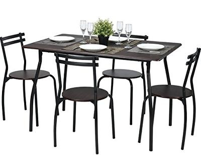 Coavas 5pcs Dining Table Set Brown Kitchen Rectangle Dining