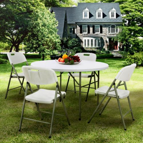 5PCS Portable Folding Table Dining Table and 4 Chairs Set Ou