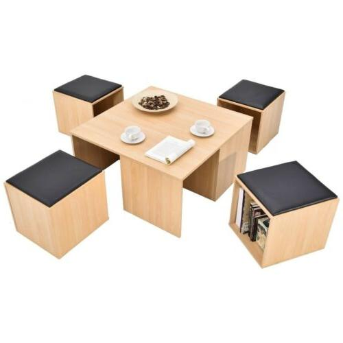 5pcs wooden table dining set with 4