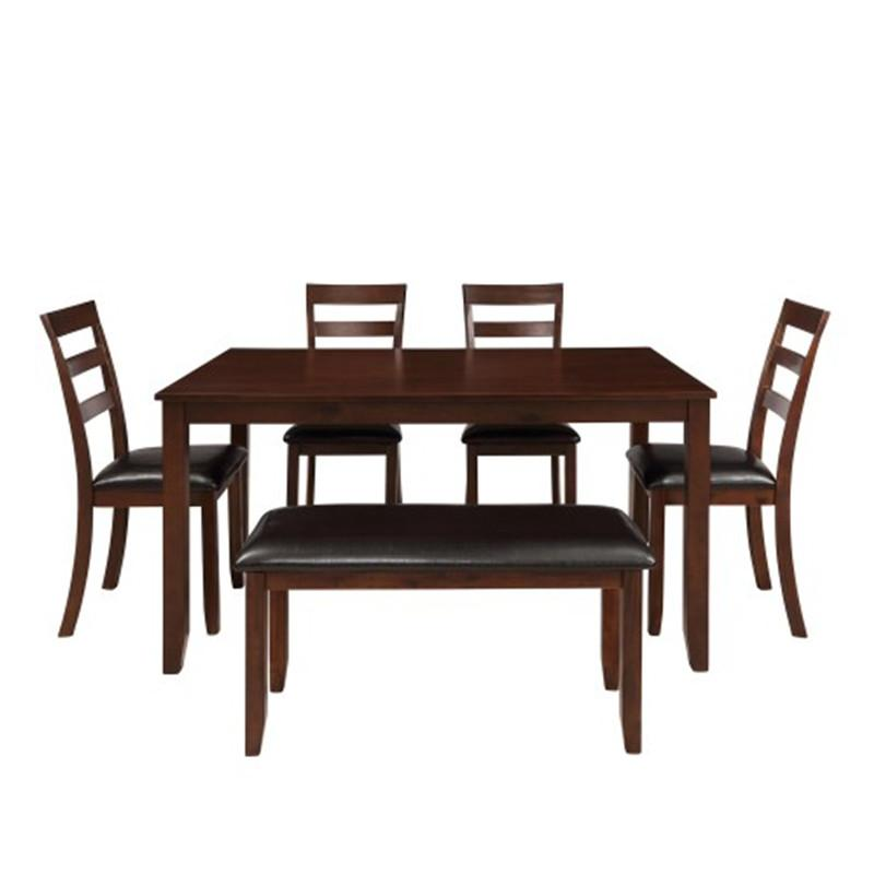 6pc <font><b>Dining</b></font> 4 Ladder <font><b>Chairs</b></font> And Bench Espresso Simple Room Table <font><b>Sets</b></font>