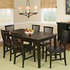 7 Pc Black Dining Room Set Wood Kitchen Furniture Table & 6