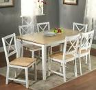 7 Pc White Dining Set Kitchen Room Table Chairs Bench Wood F