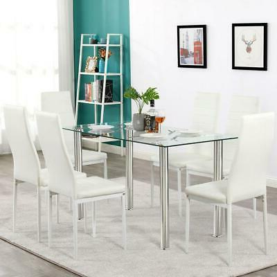 7 PCS Dining Glass Metal Table 6 Room Furniture US