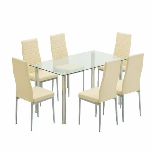 7-Piece Glass Top Table with 6 Chairs Kitchen Dining Table S