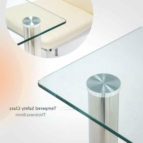 7 Dining Glass Top Table Faux