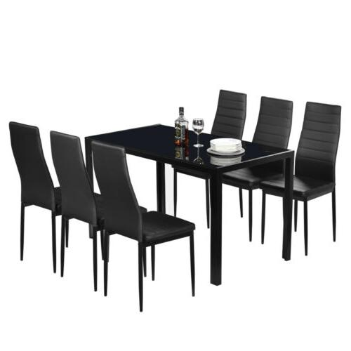 NEW Modern Black Rectangular Table & Black Chairs 7 piece Di