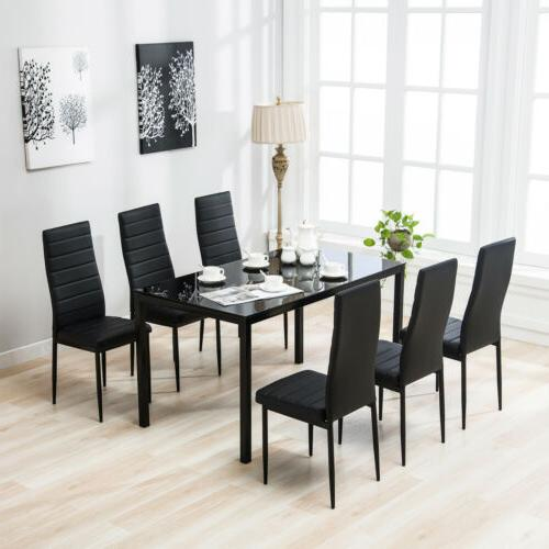 7 piece dining table set 6 chairs