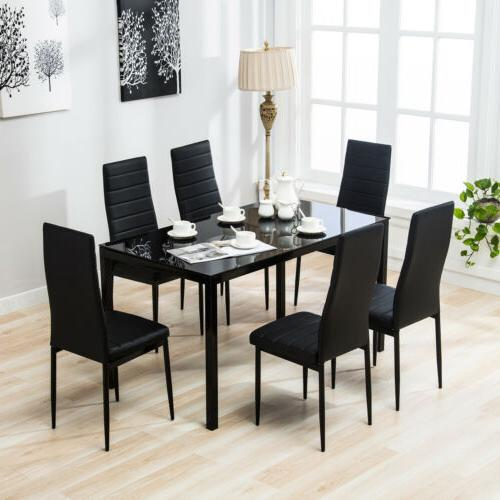 dining room 7 piece glass dining table