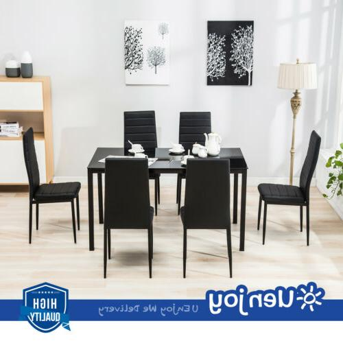Mecor 7pcs Dining Table Set 6 Chairs Glass Metal Kitchen: 7 Piece Dining Table Set 6 Chairs Black