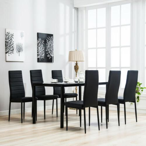 7 Piece Kitchen Dining Set Wood Top Table 6 Leather Chairs B