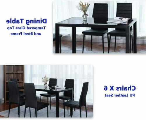 7 Piece Set Leather Chairs Glass Metal Kitchen