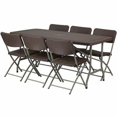 Bowery Hill 7 Piece Plastic Patio Dining Set in Brown