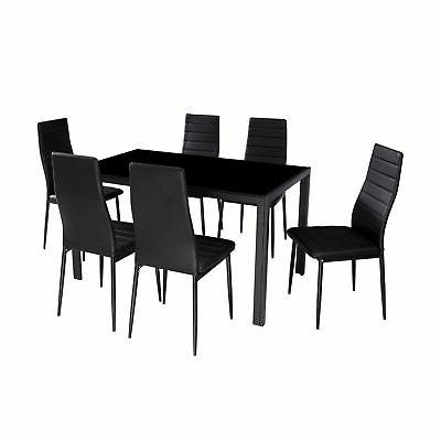 IDS 7 Modern Glass Dining Set With 6 Chairs
