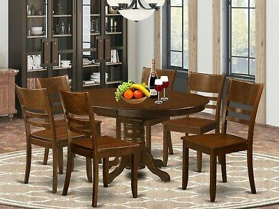 7pc Kenley oval kitchen dining set chairs espresso