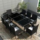 Rattan Dining Table and Chairs Set for 8 Person Outdoor Pati