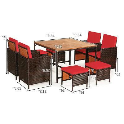 9 Dining Conversation Furniture W/ Removable Cushions
