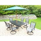 9-Piece Outdoor Dining Set with 9 ft Green Wooden Umbrella