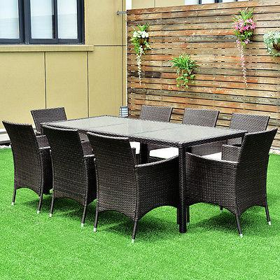 9PCS Patio Furniture Set Dining Brown Table Chairs