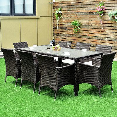 9PCS Dining Chairs Cushions Garden