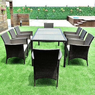 9PCS Furniture Set Dining Brown Chairs