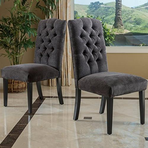 Crown Top Dark Grey Dining Chairs  by Christopher Knight Hom