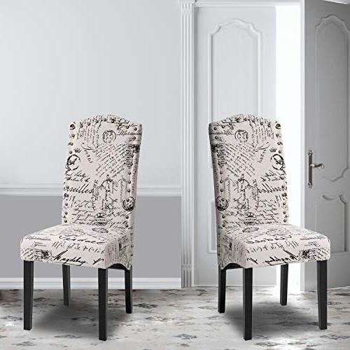 Merax Script Fabric Accent Chair Dining Room Chair With Solid Wood Legs Beige Set Of 2