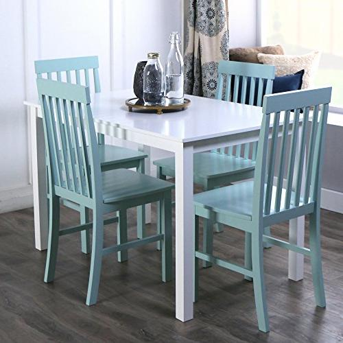 New 5 Piece Chic Dining Set-Table and 4 Chairs-White/Sage Fi