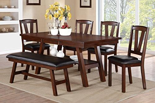 Poundex F2271 & F1331 & F1332 Dark Walnut Table & Chairs/Ben