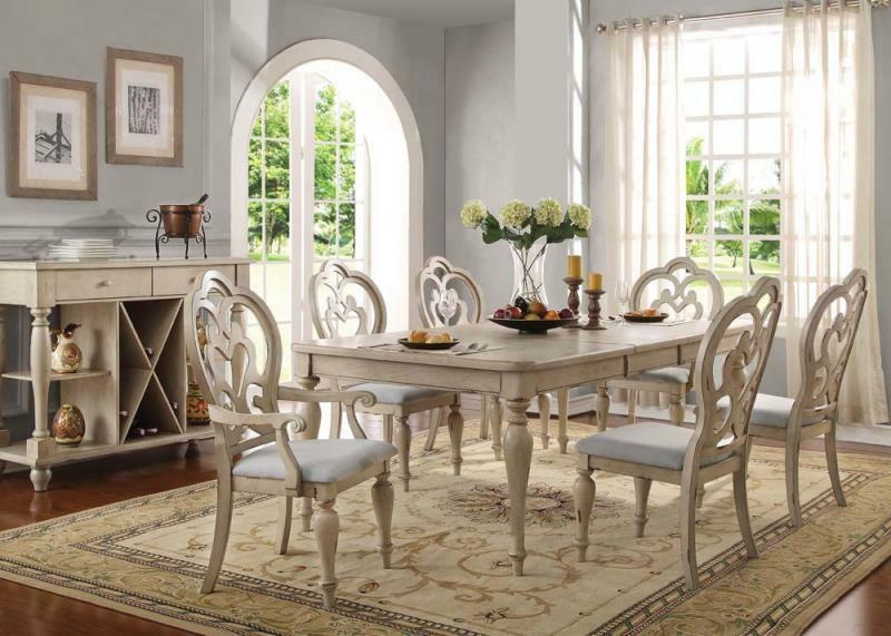 Acme Furniture Abelin 7 Piece Antique White Finish Dining Ro