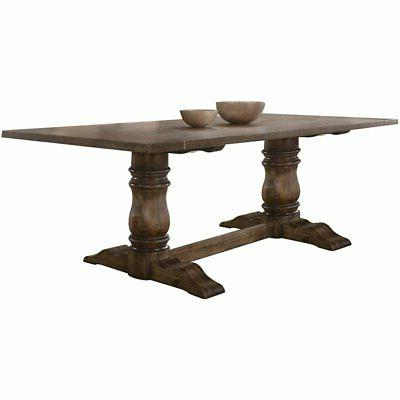 Acme Leventis Dining Table in Weathered Oak Finish 74655