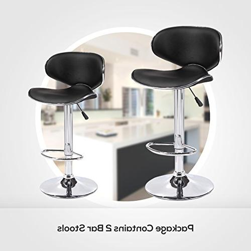 Mecor Adjustable Swivel Leather Bar Height Kitchen with Chrome of 2, Black