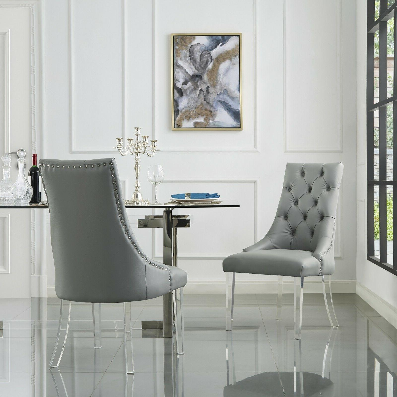 Armless Upholstered Chair Set 2 Linen PU Leather
