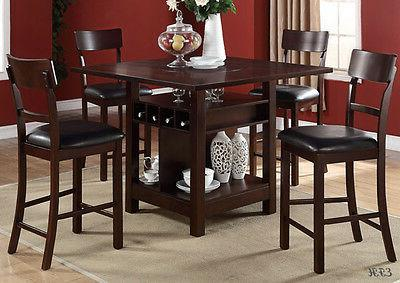 5PC AUGUSTA BROWN CHERRY WOOD COUNTER DINING TABLE SET w/ LA