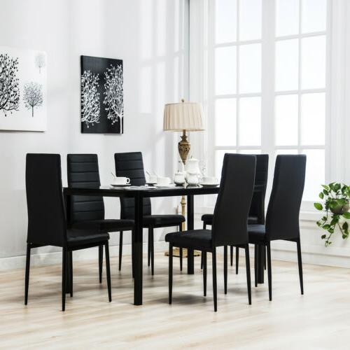 7 PCS Glass Dining Table Set with 6 Faux Leather Chairs Kitc
