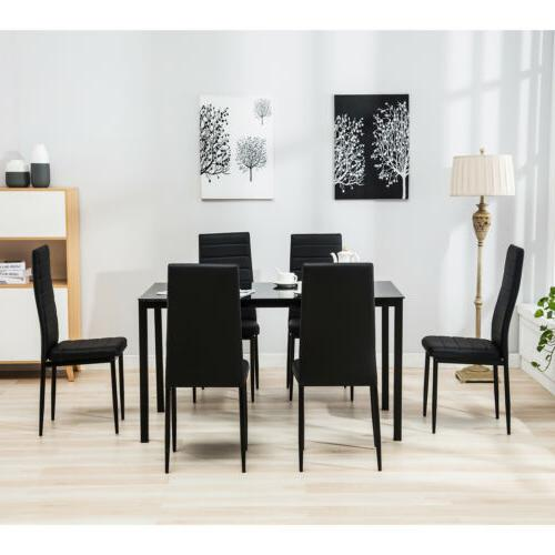 Dining 7 Glass Dining Set w/6 Chair Furniture Breakfast
