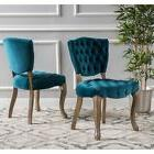 Bates Tufted Grey Fabric Dining Chairs