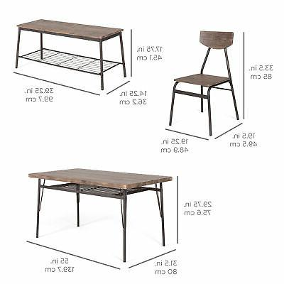 BCP 6-Piece Set Table, Bench, 4 - Brown