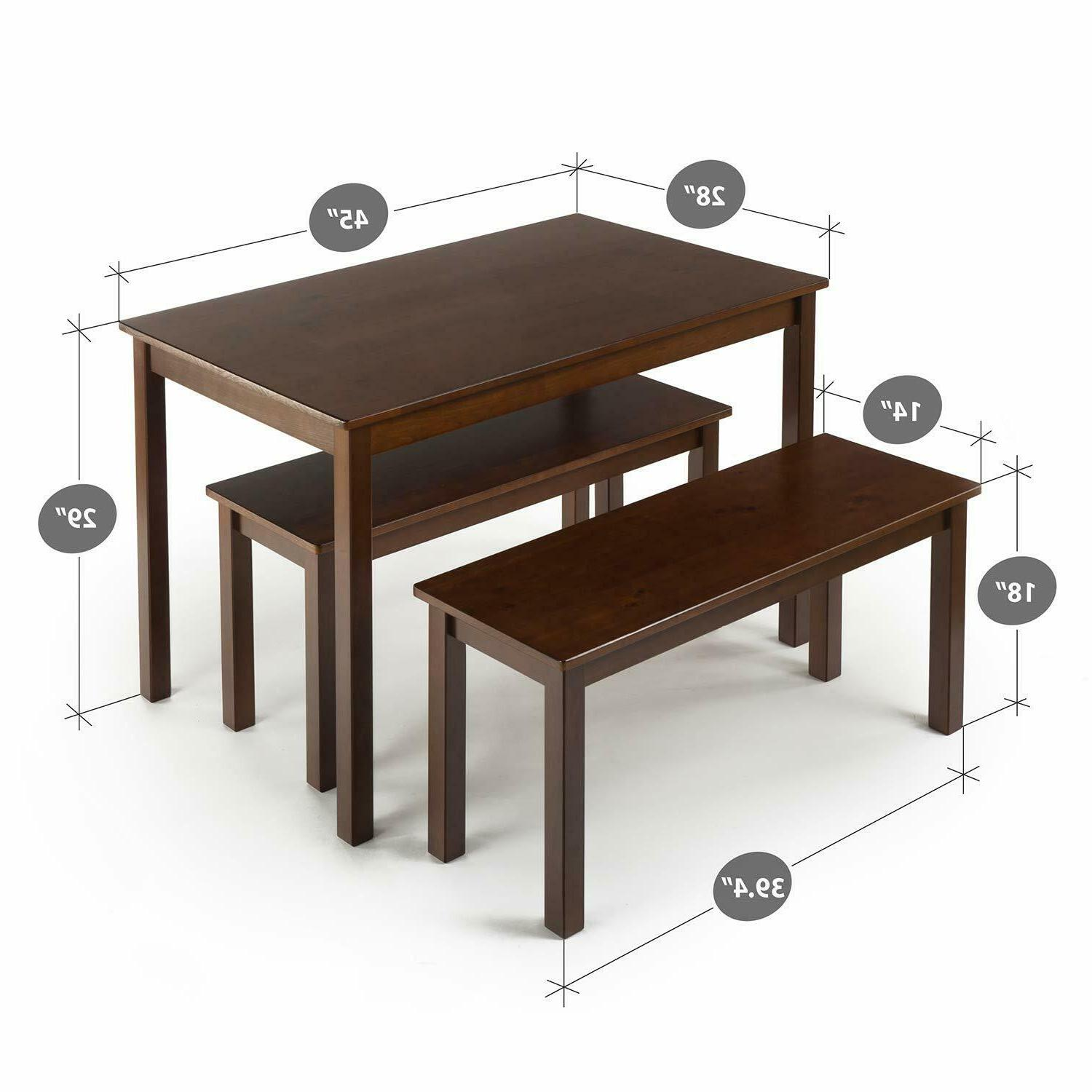 Modern Set 4 Person Bench Family 3 Pc Charming Decor