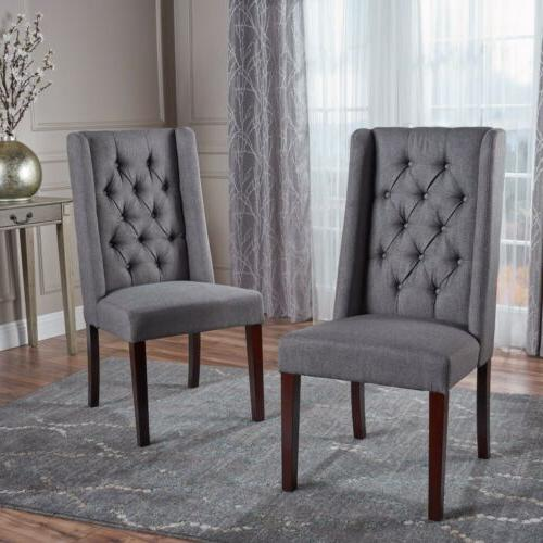 billings tufted fabric high back dining chairs