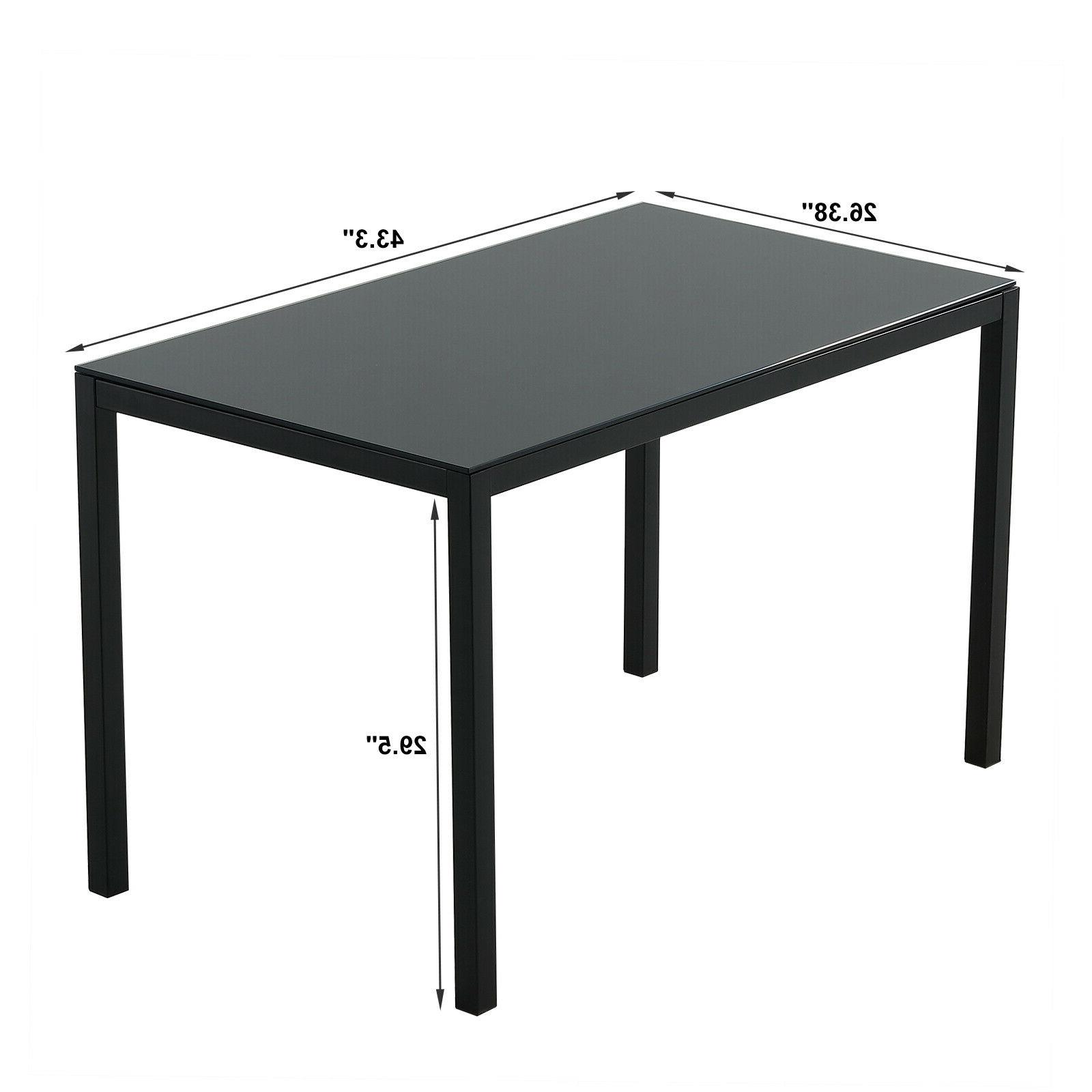 Black 5PC Table Top 4FauxLeather