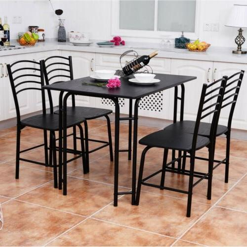Black Color Dining Table and 4 Chairs Set Metal Kitchen Room