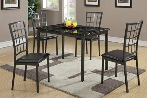 Black Dining Table with Marble Finished Top and 4 Chairs by